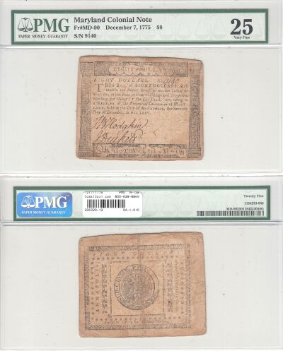 12/7/1775. MD. Eight Dollars. PMG. VF-25.