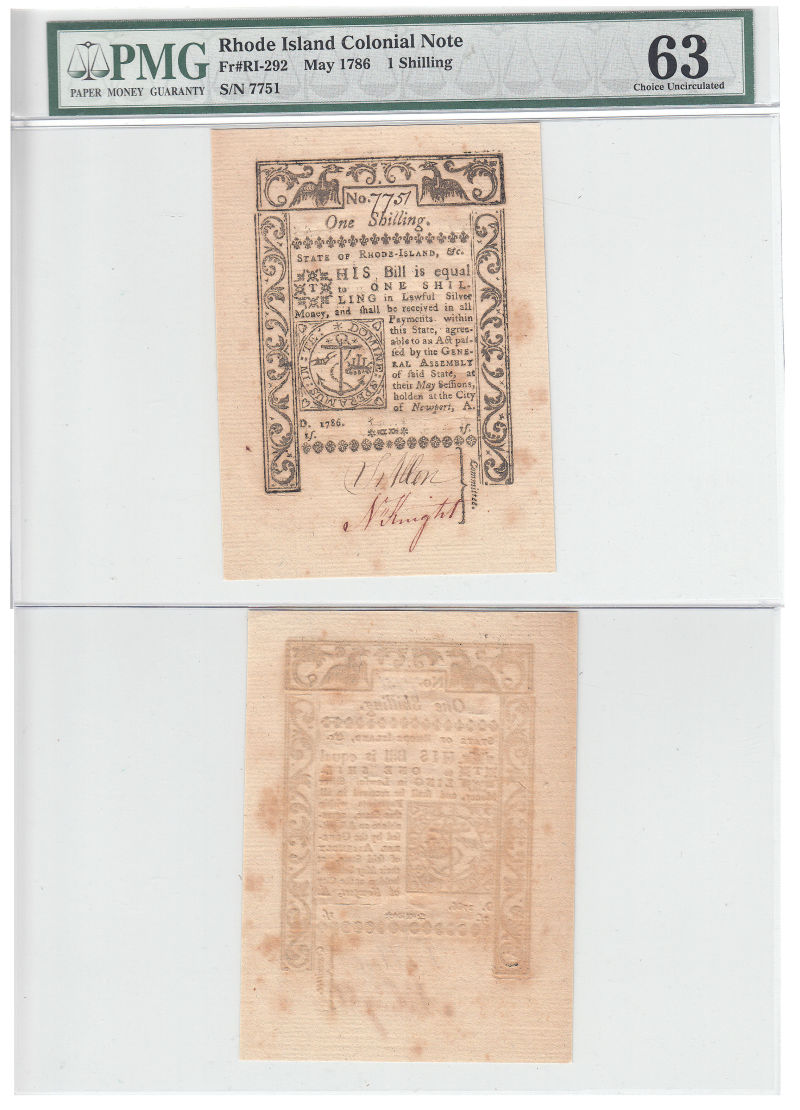 206321- May 1786. RI. One Shilling. PMG. Ch Unc-63.