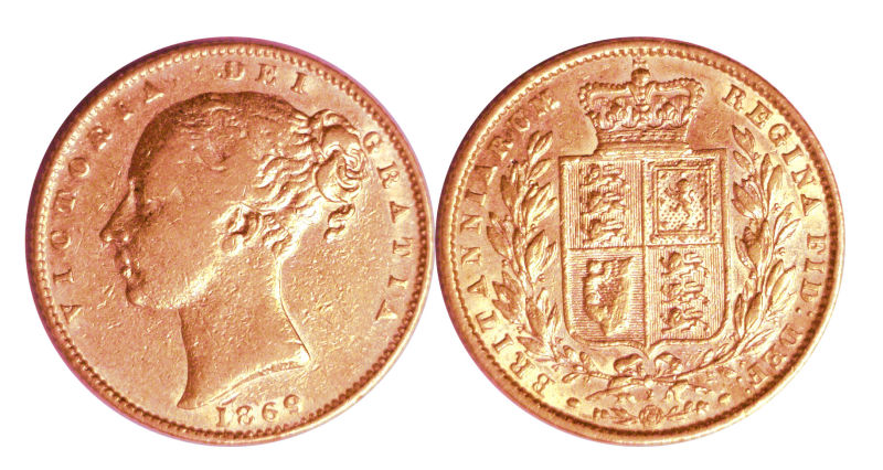 206488- 1835-1874. England. Sovereign. VF.