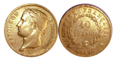 1811-A. France. 40 Francs. XF.