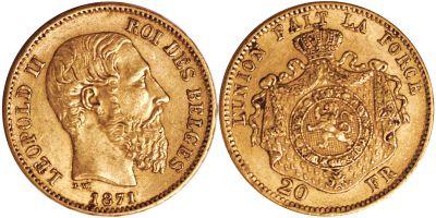 1867-1882. Belgium. 20 Franc. AU.