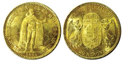 1892-1900. Hungary. 20 Korona. Select BU.