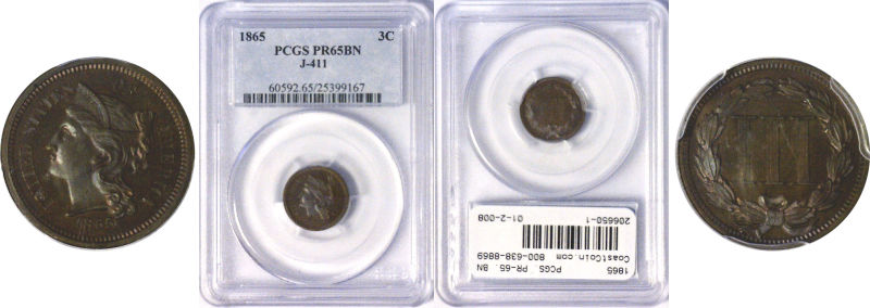 206650- 1865. Three Cent Nickel. PCGS. PR-65. BN. J-411.