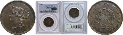 1854. Cent. PCGS. PR-64. BN. J-161.
