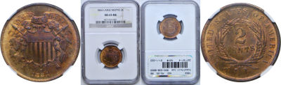 1864 Large Motto. NGC. MS-65. RB.