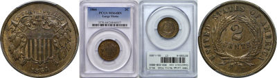 1864 Large Motto. PCGS. MS-64. BN.