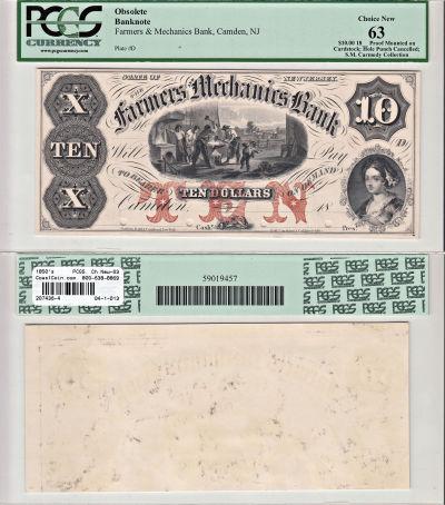 1850's. $10. PCGS. Ch New-63. NJ.