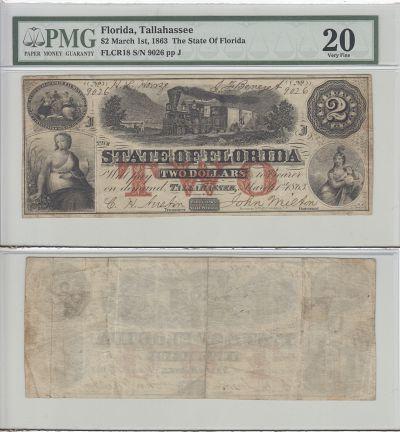 1863. $2. PMG. VF-20. FL.