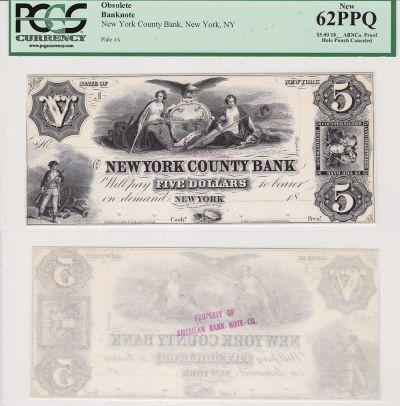 1850's. $5. PCGS. New-62. PPQ. NY.