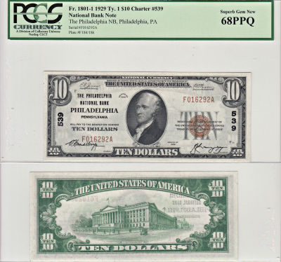 1929. $10. PCGS. Superb-68. PPQ. PA. Philadelphia.