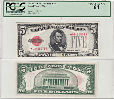 1928*. $5. F-1525*. PCGS. Very Ch-64. Legal Tender