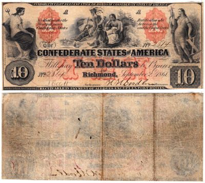 1861. $10. VF. T-22.