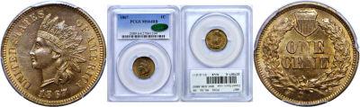 1867. PCGS. MS-64. RB.