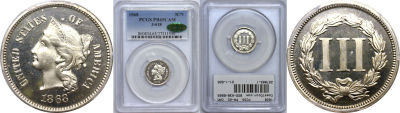 1868. Three Cent Nickel. PCGS. PR-65. CAM. J-618.