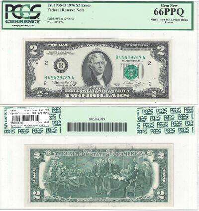 1976. $2. PCGS. Gem-66. PPQ. Federal Reserve Note.