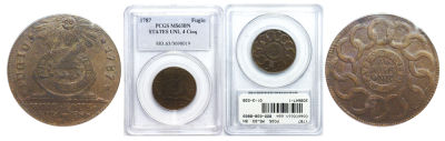 1787. Fugio Cent. PCGS. MS-63. BN.