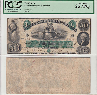 1861. $50. PCGS. VF-25. PPQ. T-6.