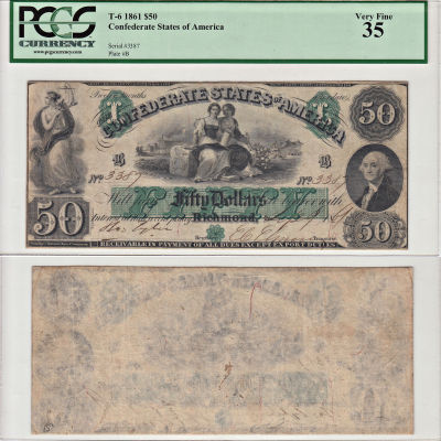 1861. $50. PCGS. VF-35. T-6.