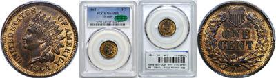 1864 Bronze. PCGS. MS-65. RB.