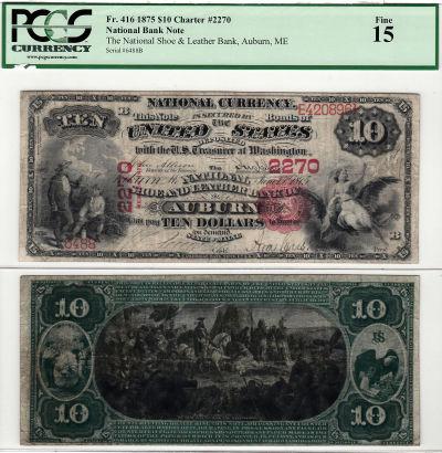 1875. $10. PCGS. F-15. ME. Auburn. 2270.
