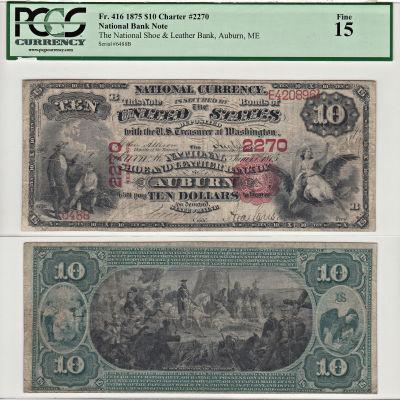 1875. $10. PCGS. F-15. ME. Auburn. Charter 2270.