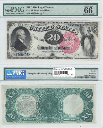 1880. $20. F-135. PMG. Gem-66. EPQ. LTN.