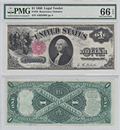 1880. $1. F-34. PMG. Gem-66. EPQ. LTN.