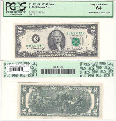 1976. $2. PCGS. Very Ch-64. Federal Reserve Note.