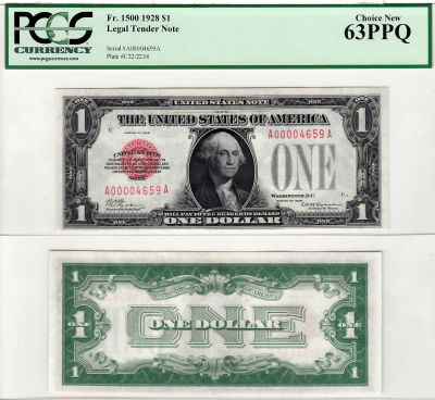 1928. $1. F-1500. PCGS. Ch New-63. PPQ. Legal Tend