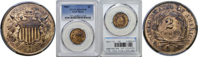 1864 Small Motto. PCGS. MS-64. RB.