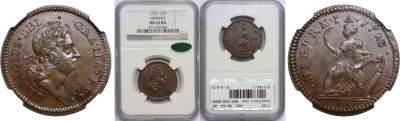 1723. Wood's Hibernia. NGC. MS-63. BN.