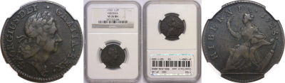 1723. Wood's Hibernia. NGC. VF-35.
