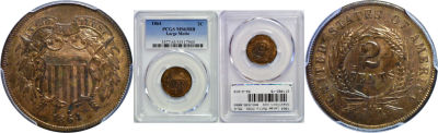 1864 Large Motto. PCGS. MS-63. RB.