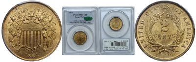 1864 Large Motto. PCGS. MS-64. RD.