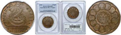 1787. Fugio Cent. PCGS. MS-64. BN.
