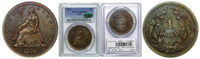 1870. Dollar. PCGS. PR-64. RB. J-998.