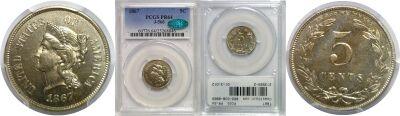 1867. Nickel. PCGS. PR-64. J-566.