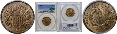 1865. PCGS. MS-65. RB.