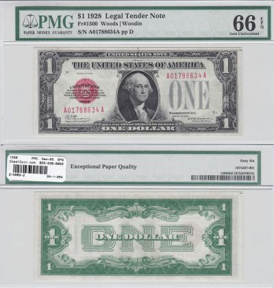 1928. $1. F-1500. PMG. Gem-66. EPQ. Legal Tender N
