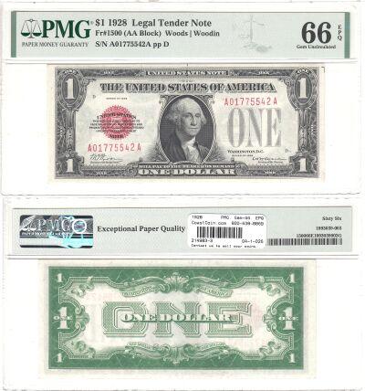1928. $1. F-1500. PMG. Gem-66. EPQ. Legal Tender N