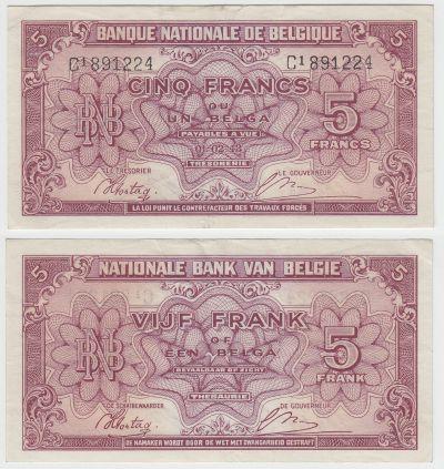 1944. Belgium. 5 Francs. VF. P-121.
