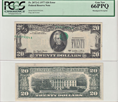 1977. $20. PCGS. Gem-66. PPQ. Federal Reserve Note
