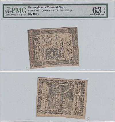 10/1/1773. PA. 50 Shillings. PMG. Ch Unc-63. EPQ.