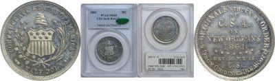 1861. PCGS. MS-64. CSA Scott Restrike Half Dollar.