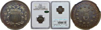 1866. Nickel. NGC. PF-66. BN. J-508.