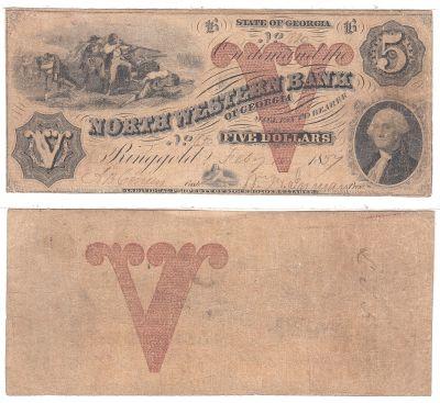 1857. $5. FINE. GA.