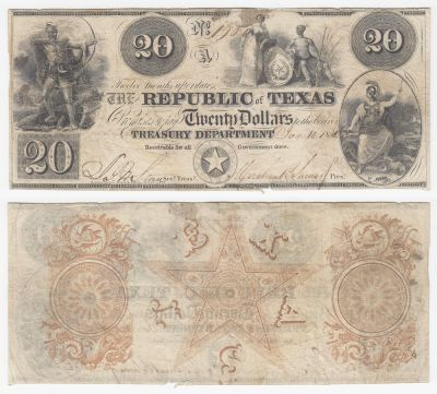 1839-40. $20. VF. TX.
