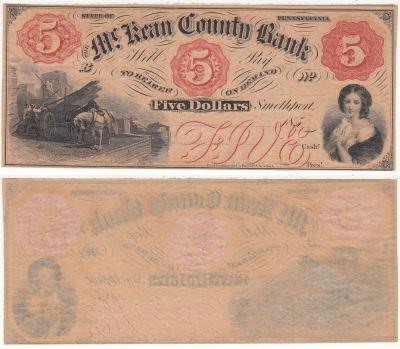 1850's. $5. CCU. PA.
