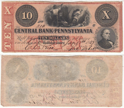 1859. $10. VF. PA.