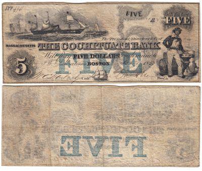 1853. $5. FINE. MA.